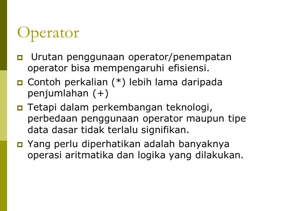 Operator Urutan penggunaan operator/penempatan operator bisa mempengaruhi efisiensi. Contoh perkalian (*) lebih lama daripada penjumlahan (+)