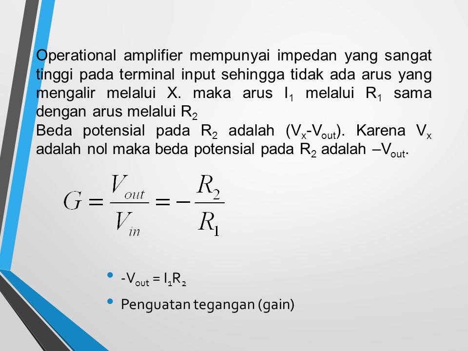 Operational amplifier mempunyai impedan yang sangat tinggi pada terminal input sehingga tidak ada arus yang mengalir melalui X. maka arus I1 melalui R1 sama dengan arus melalui R2