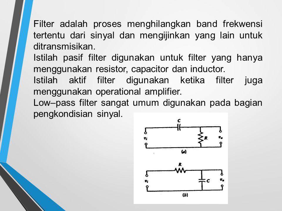 Filter adalah proses menghilangkan band frekwensi tertentu dari sinyal dan mengijinkan yang lain untuk ditransmisikan.