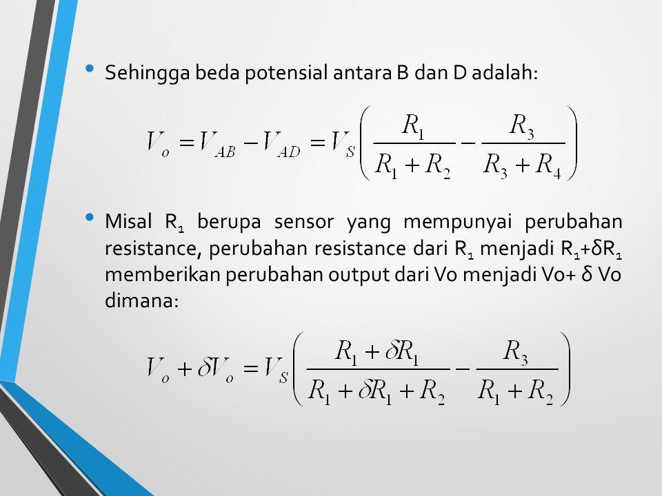 Sehingga beda potensial antara B dan D adalah: