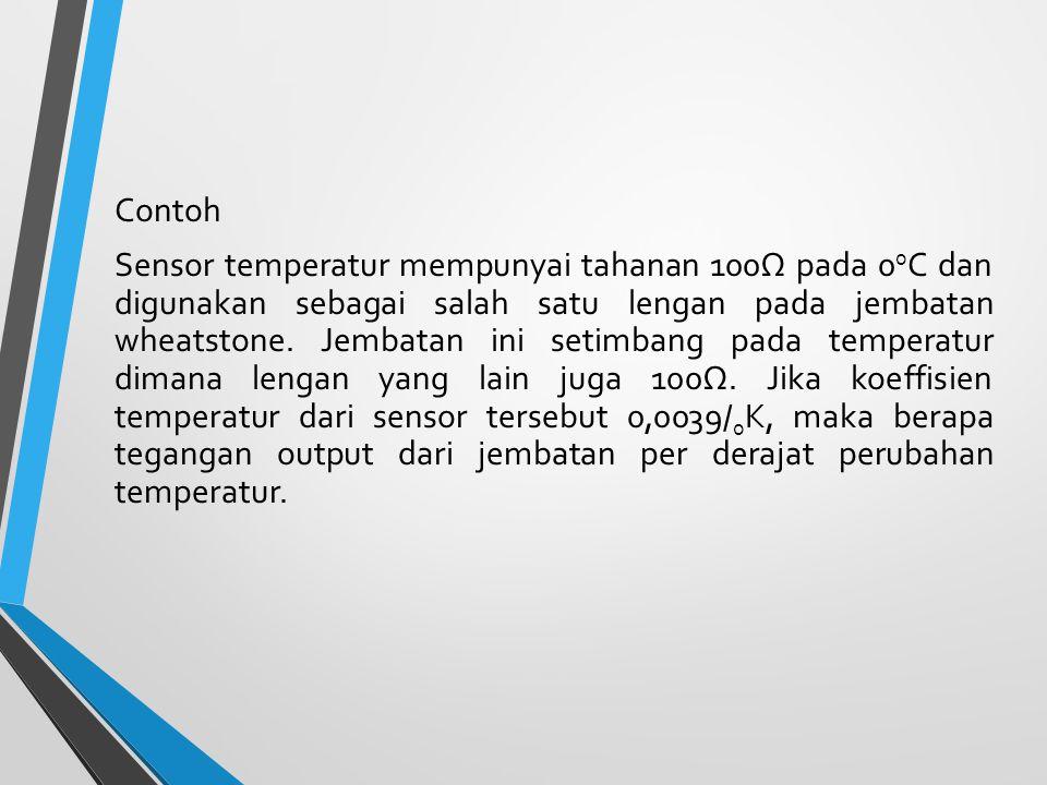 Contoh Sensor temperatur mempunyai tahanan 100Ω pada 00C dan digunakan sebagai salah satu lengan pada jembatan wheatstone.