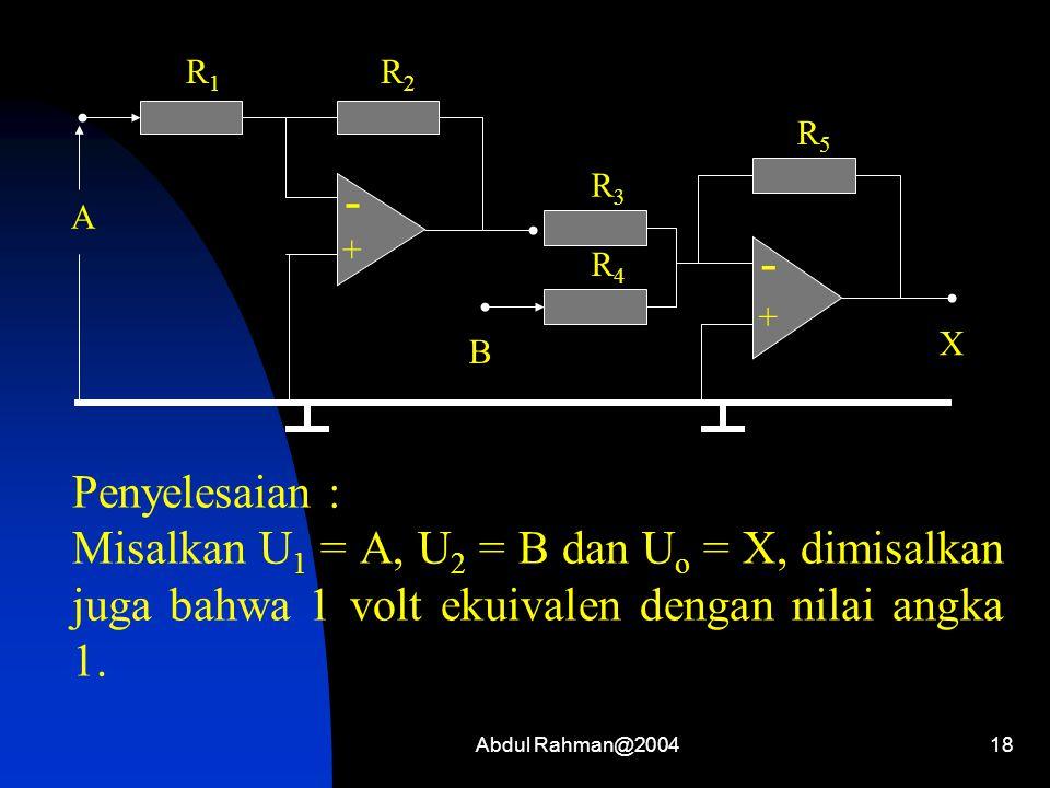 - + R1. R2. A. R4. R5. X. B. R3. Penyelesaian :
