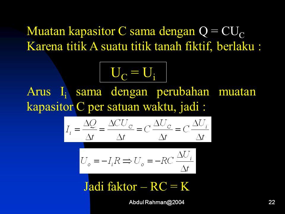 UC = Ui Muatan kapasitor C sama dengan Q = CUC