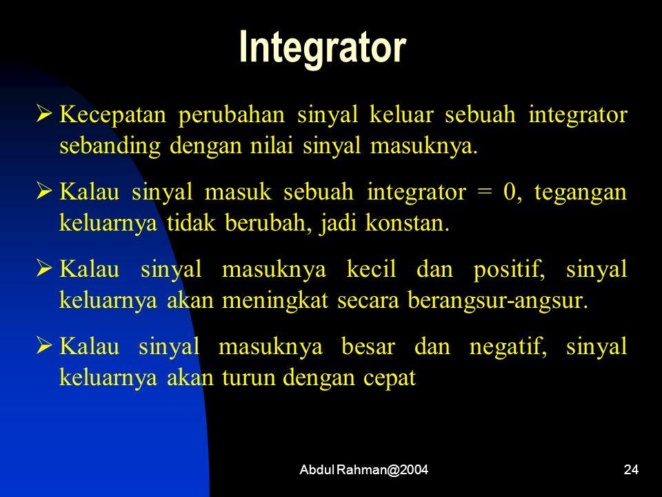 Integrator Kecepatan perubahan sinyal keluar sebuah integrator sebanding dengan nilai sinyal masuknya.