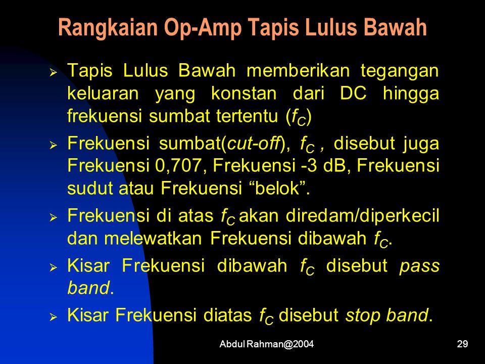 Rangkaian Op-Amp Tapis Lulus Bawah