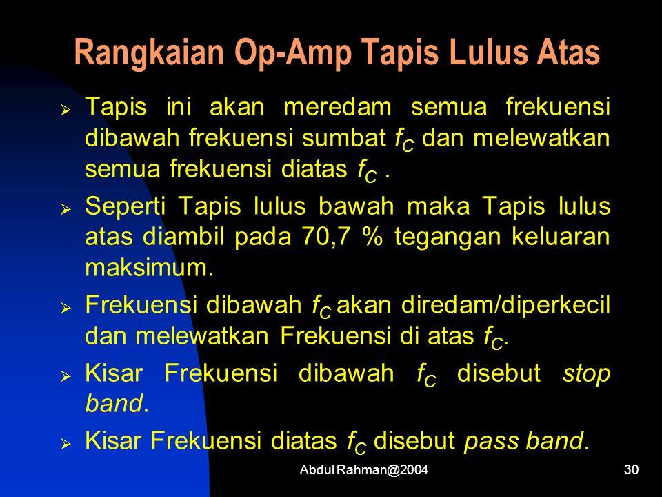 Rangkaian Op-Amp Tapis Lulus Atas