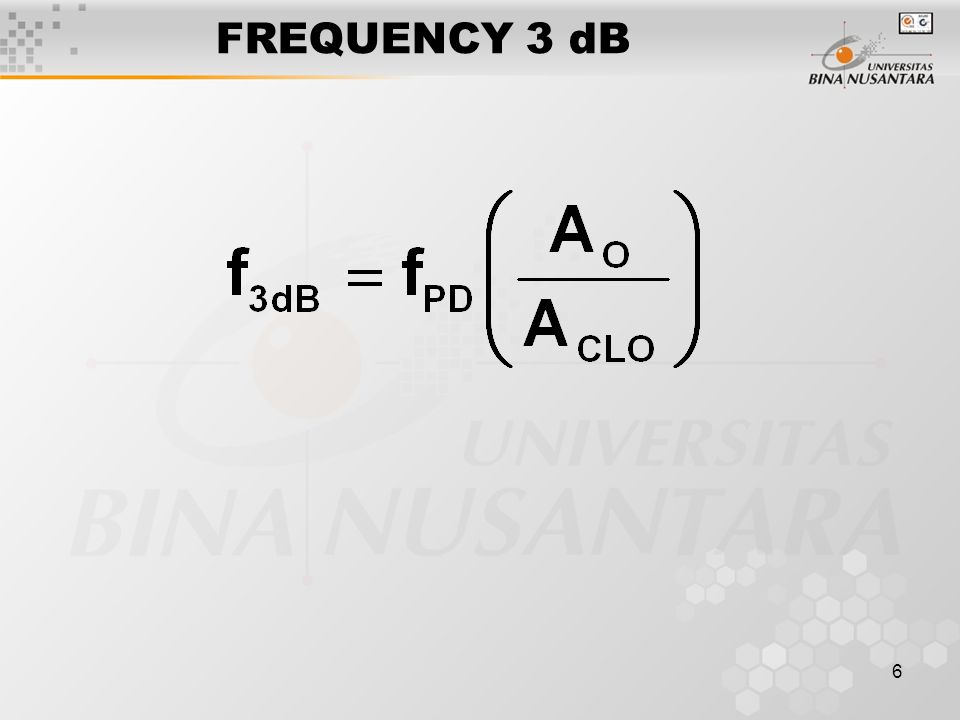 FREQUENCY 3 dB