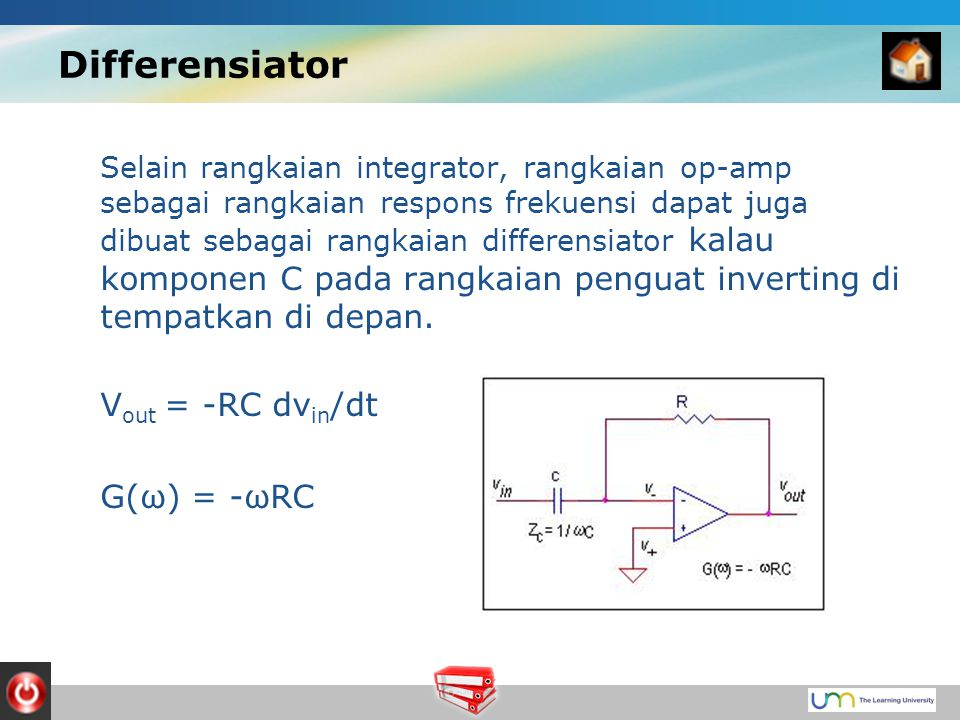 Differensiator Vout = -RC dvin/dt G(ω) = -ωRC