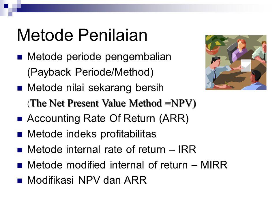 Metode Penilaian Metode periode pengembalian (Payback Periode/Method)