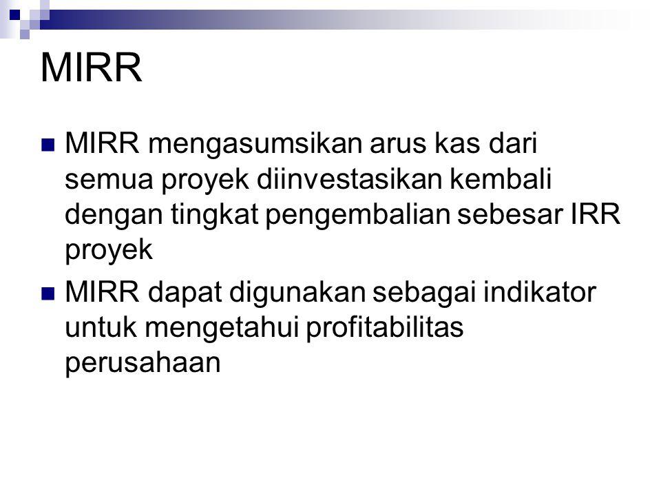 MIRR MIRR mengasumsikan arus kas dari semua proyek diinvestasikan kembali dengan tingkat pengembalian sebesar IRR proyek.