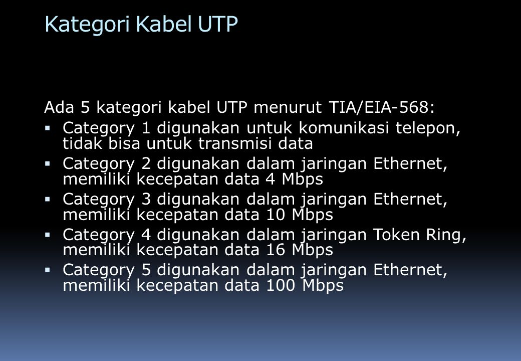 Kategori Kabel UTP Ada 5 kategori kabel UTP menurut TIA/EIA-568: