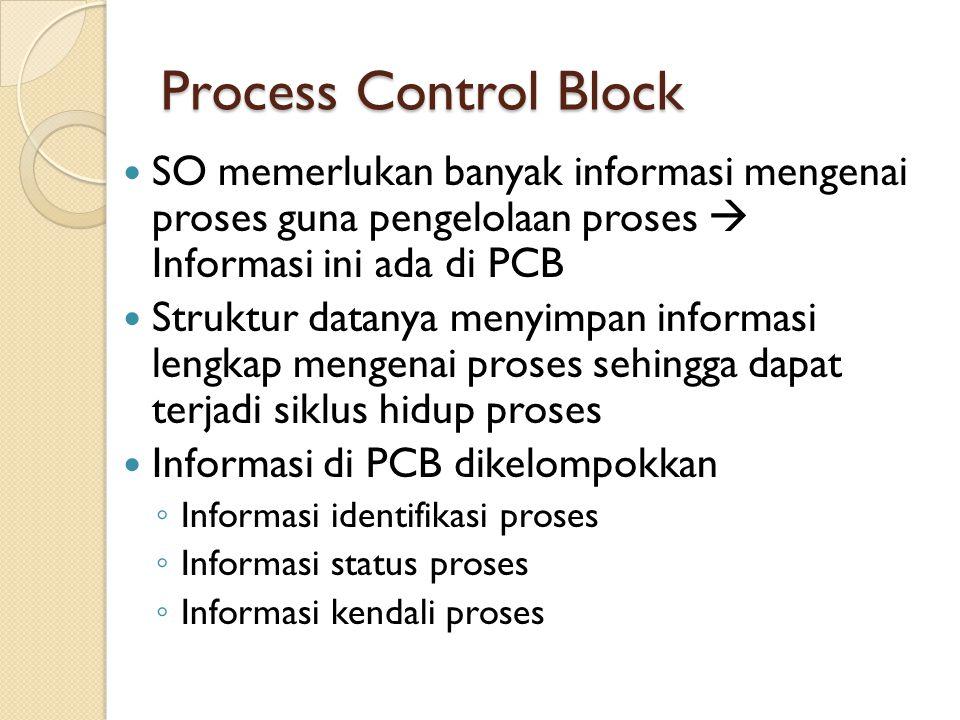 Process Control Block SO memerlukan banyak informasi mengenai proses guna pengelolaan proses  Informasi ini ada di PCB.