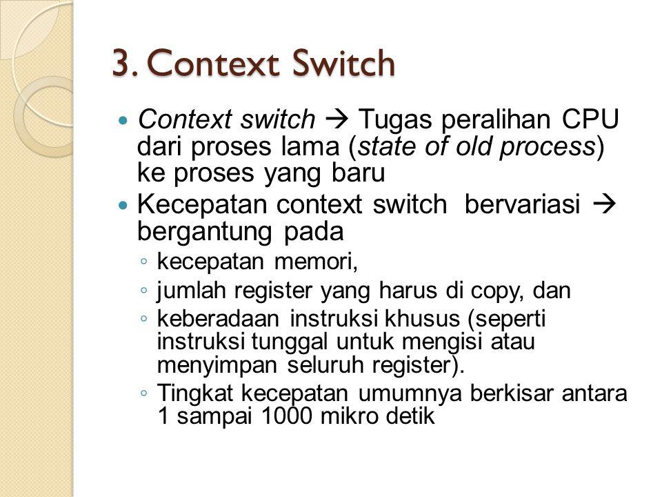 3. Context Switch Context switch  Tugas peralihan CPU dari proses lama (state of old process) ke proses yang baru.