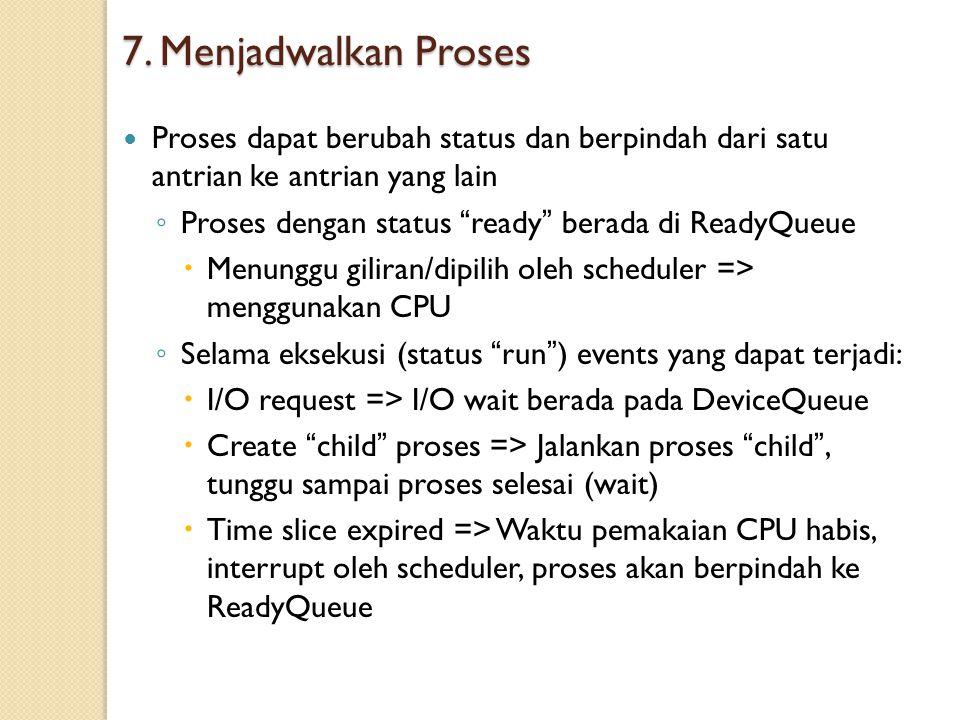 7. Menjadwalkan Proses Proses dapat berubah status dan berpindah dari satu antrian ke antrian yang lain.