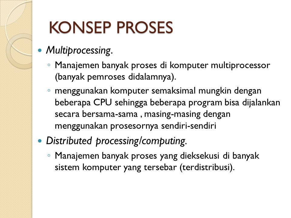 KONSEP PROSES Multiprocessing. Distributed processing/computing.
