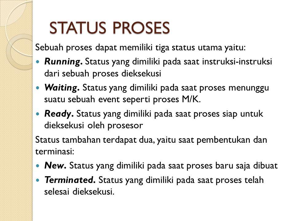 STATUS PROSES Sebuah proses dapat memiliki tiga status utama yaitu: