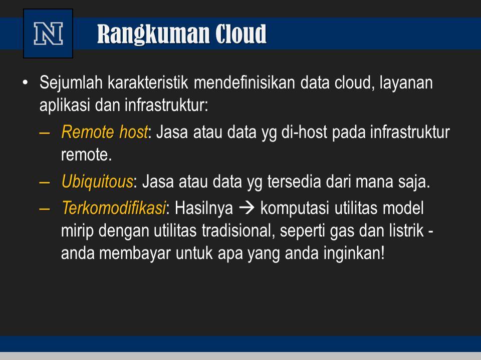Rangkuman Cloud Sejumlah karakteristik mendefinisikan data cloud, layanan aplikasi dan infrastruktur: