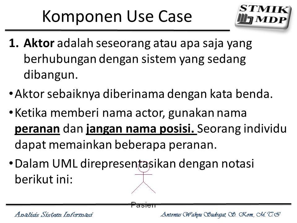 Komponen Use Case Aktor adalah seseorang atau apa saja yang berhubungan dengan sistem yang sedang dibangun.