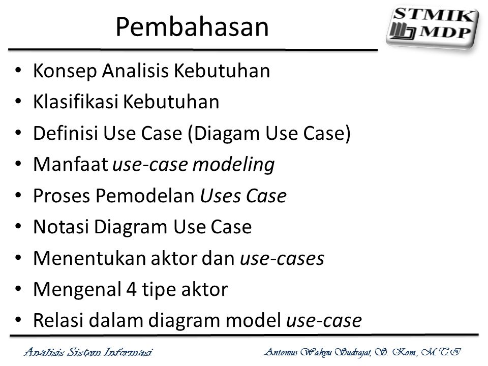 Pembahasan Konsep Analisis Kebutuhan Klasifikasi Kebutuhan