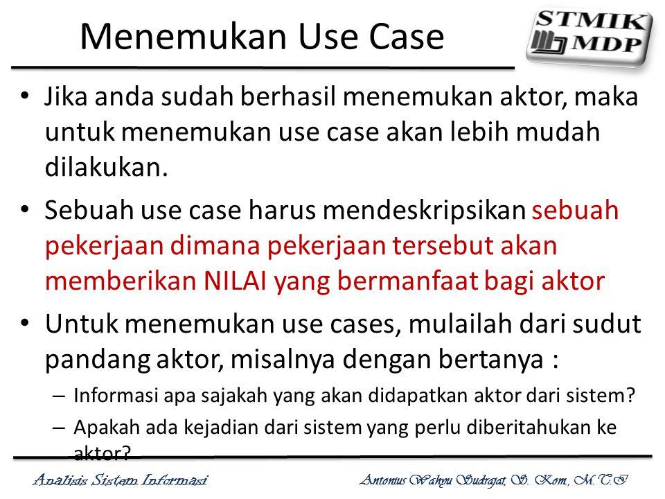 Menemukan Use Case Jika anda sudah berhasil menemukan aktor, maka untuk menemukan use case akan lebih mudah dilakukan.
