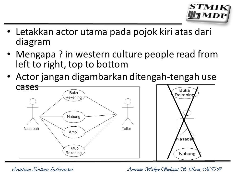 Letakkan actor utama pada pojok kiri atas dari diagram