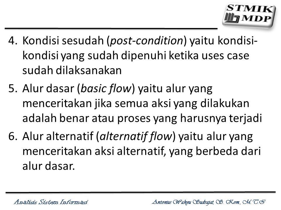 Kondisi sesudah (post-condition) yaitu kondisi-kondisi yang sudah dipenuhi ketika uses case sudah dilaksanakan