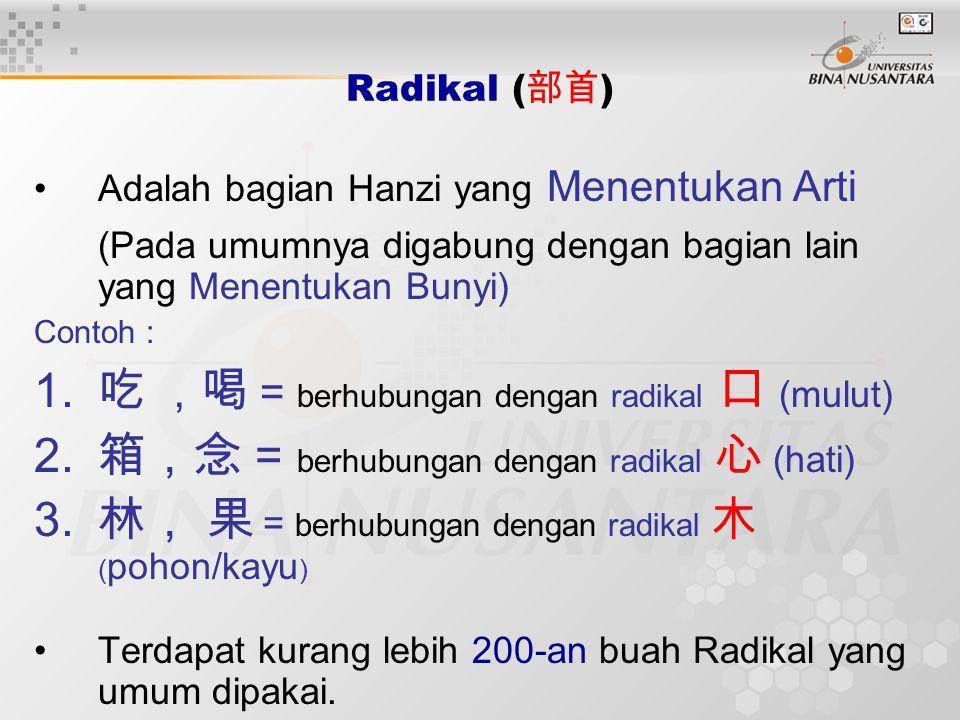 吃 ,喝 = berhubungan dengan radikal 口 (mulut)