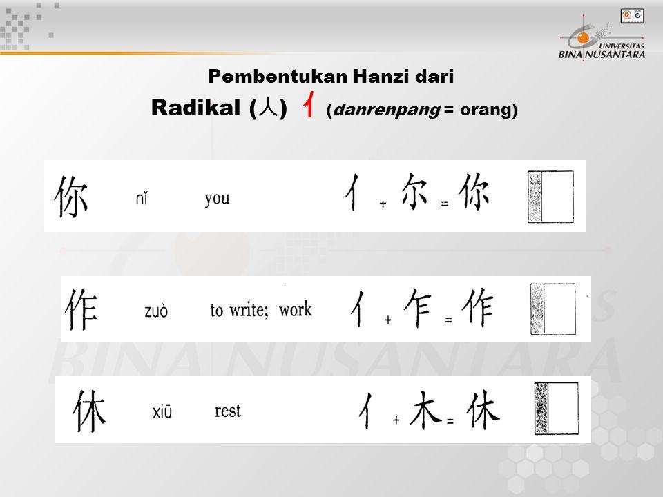 Pembentukan Hanzi dari Radikal (人) 亻(danrenpang = orang)