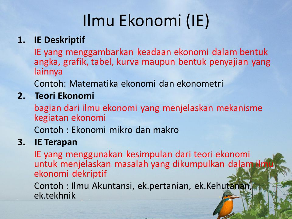 Ilmu Ekonomi (IE) IE Deskriptif