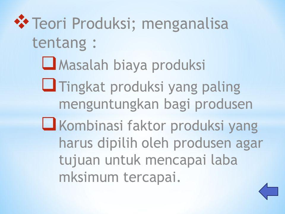 Teori Produksi; menganalisa tentang :