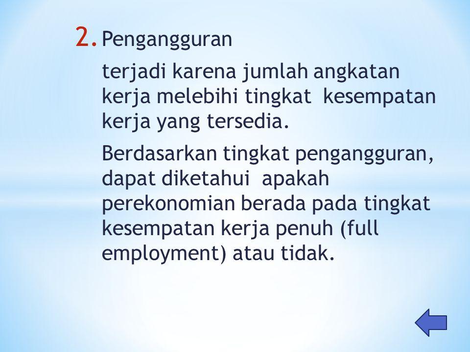 Pengangguran terjadi karena jumlah angkatan kerja melebihi tingkat kesempatan kerja yang tersedia.