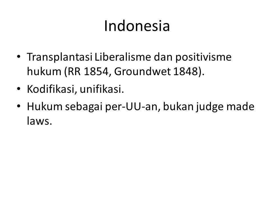 Indonesia Transplantasi Liberalisme dan positivisme hukum (RR 1854, Groundwet 1848). Kodifikasi, unifikasi.