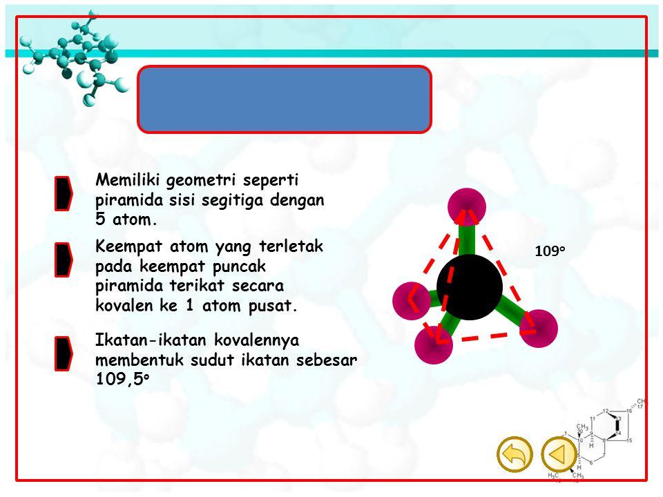 Molekul Tetrahedron Memiliki geometri seperti piramida sisi segitiga dengan 5 atom.