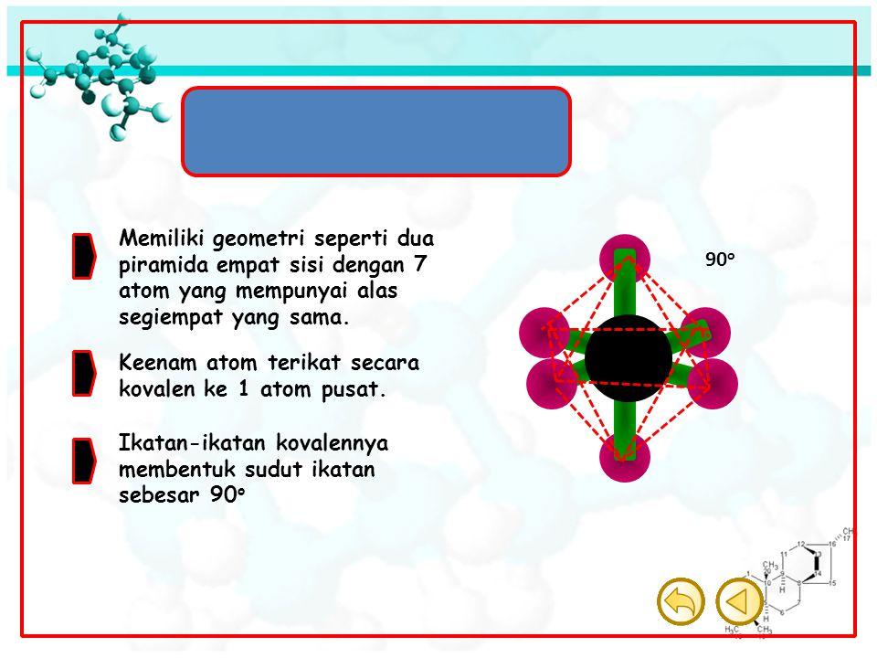 Molekul Oktahedron Memiliki geometri seperti dua piramida empat sisi dengan 7 atom yang mempunyai alas segiempat yang sama.