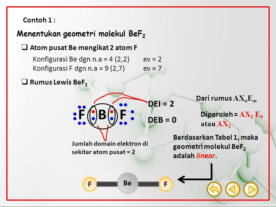 F B DEI = 2 DEB = 0 Contoh 1 : Menentukan geometri molekul BeF2