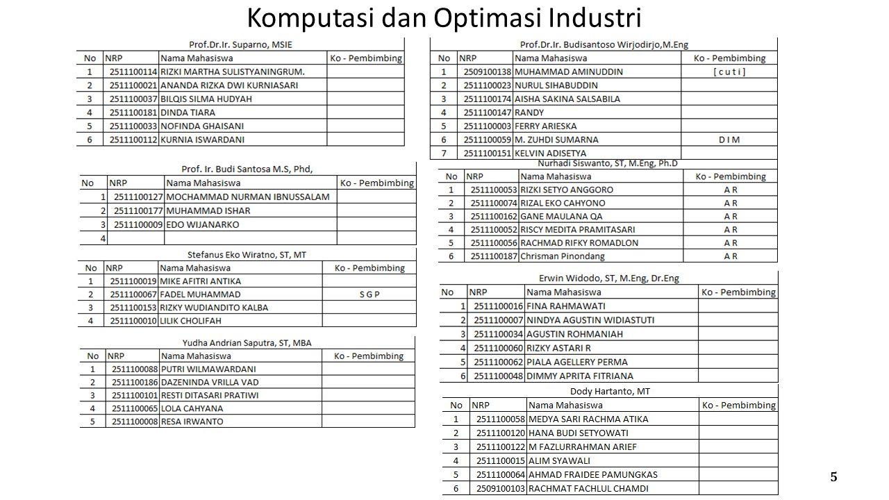 Komputasi dan Optimasi Industri