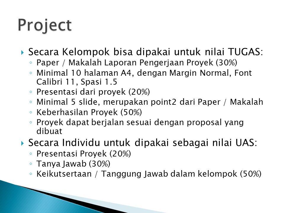 Project Secara Kelompok bisa dipakai untuk nilai TUGAS: