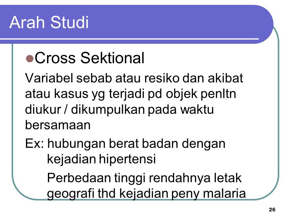 Arah Studi Cross Sektional