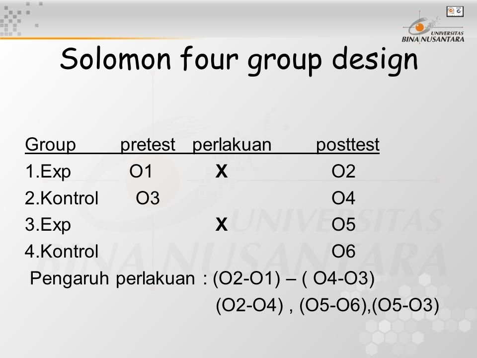 Solomon four group design