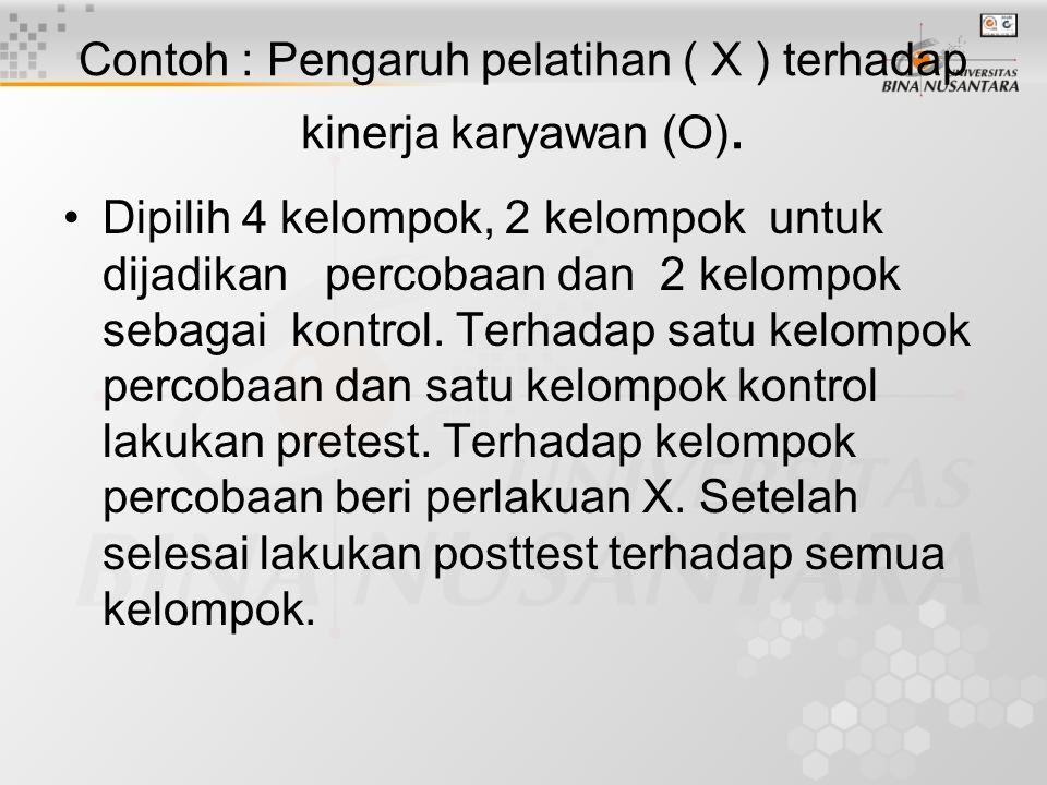 Contoh : Pengaruh pelatihan ( X ) terhadap kinerja karyawan (O).