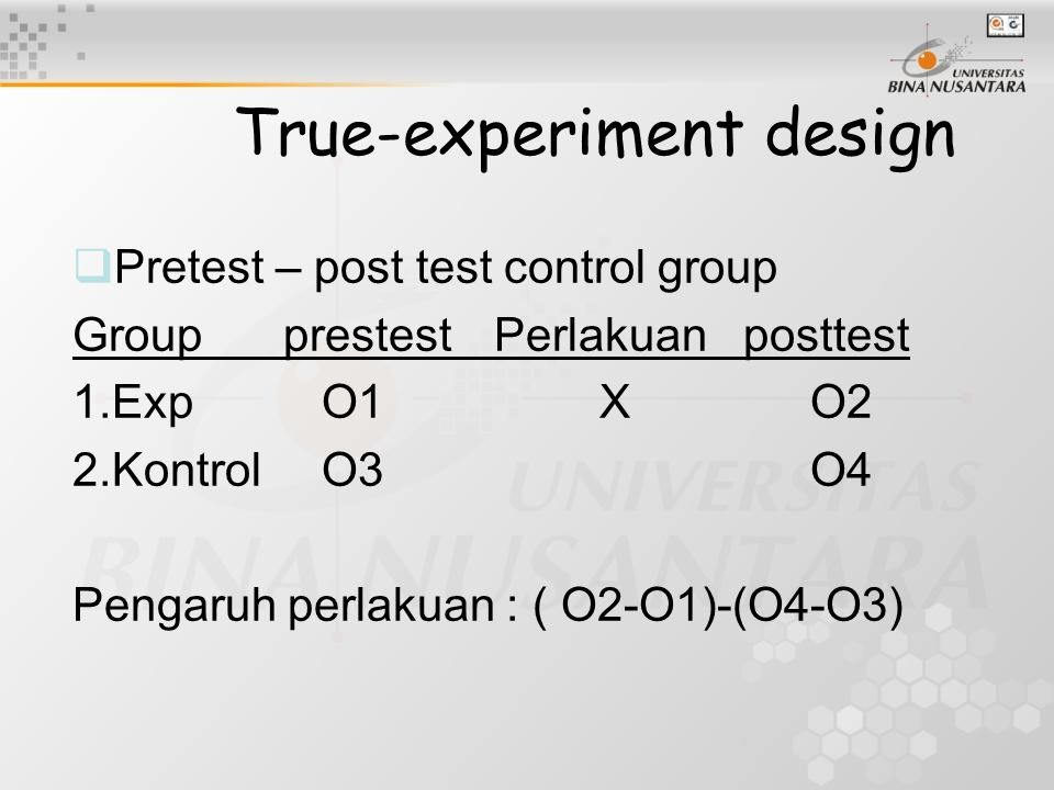 True-experiment design