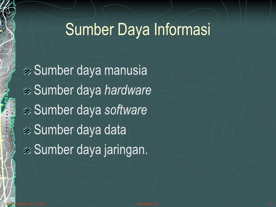 Sumber Daya Informasi Sumber daya manusia Sumber daya hardware