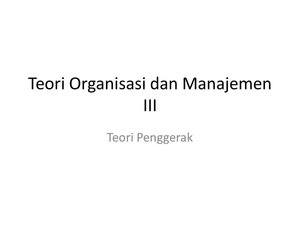 Teori Organisasi dan Manajemen III
