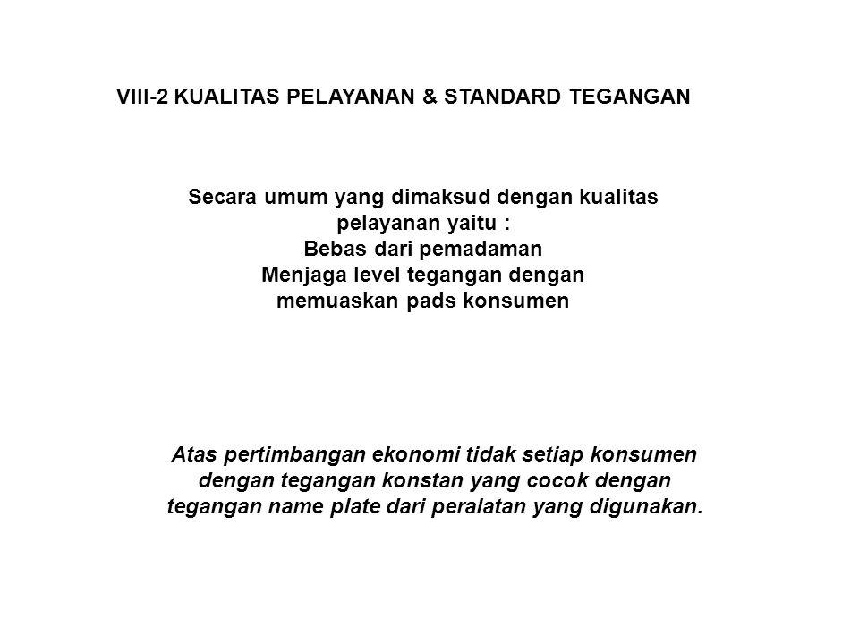 VIII-2 KUALITAS PELAYANAN & STANDARD TEGANGAN