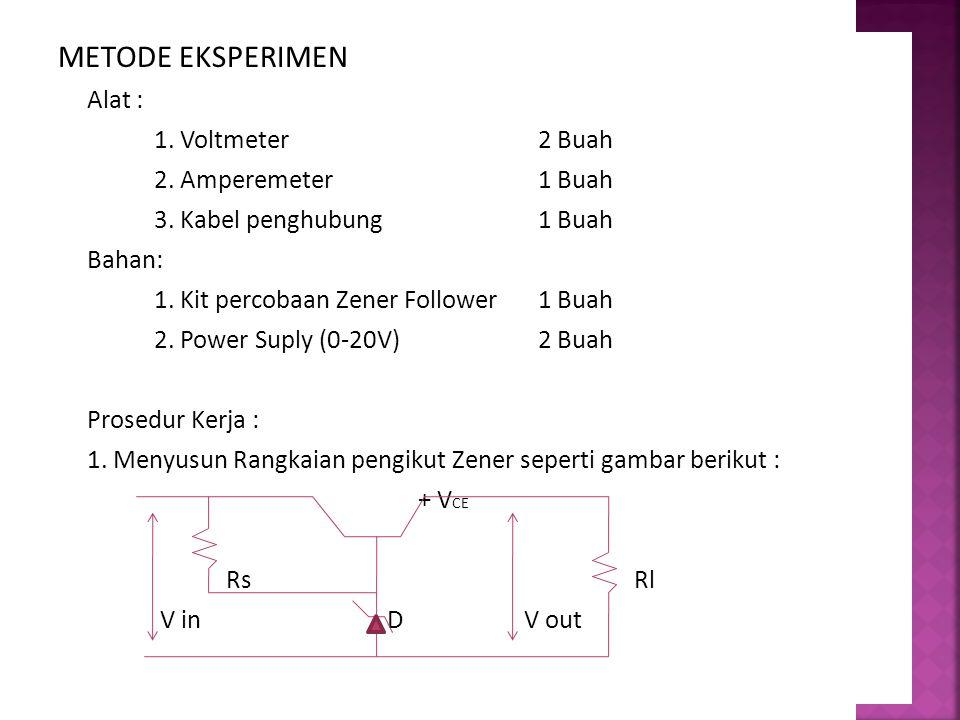 METODE EKSPERIMEN Alat : 1. Voltmeter 2 Buah 2. Amperemeter 1 Buah