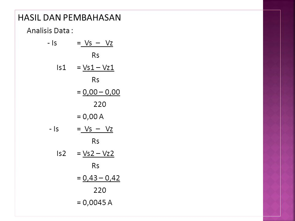 HASIL DAN PEMBAHASAN Analisis Data : - Is = Vs – Vz Rs Is1 = Vs1 – Vz1