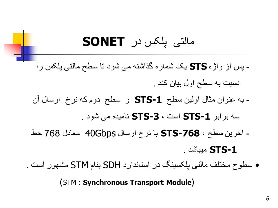 (STM : Synchronous Transport Module)