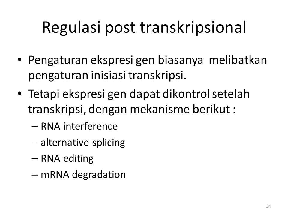 Regulasi post transkripsional