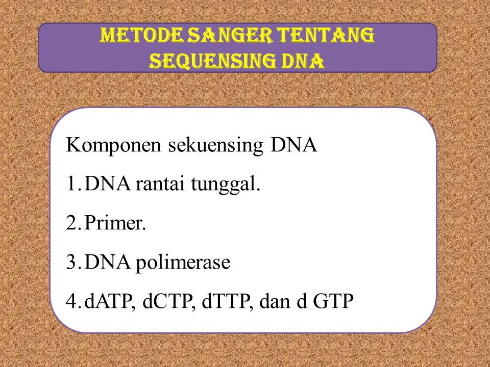 METODE SANGER TENTANG SEqUENSING DNA
