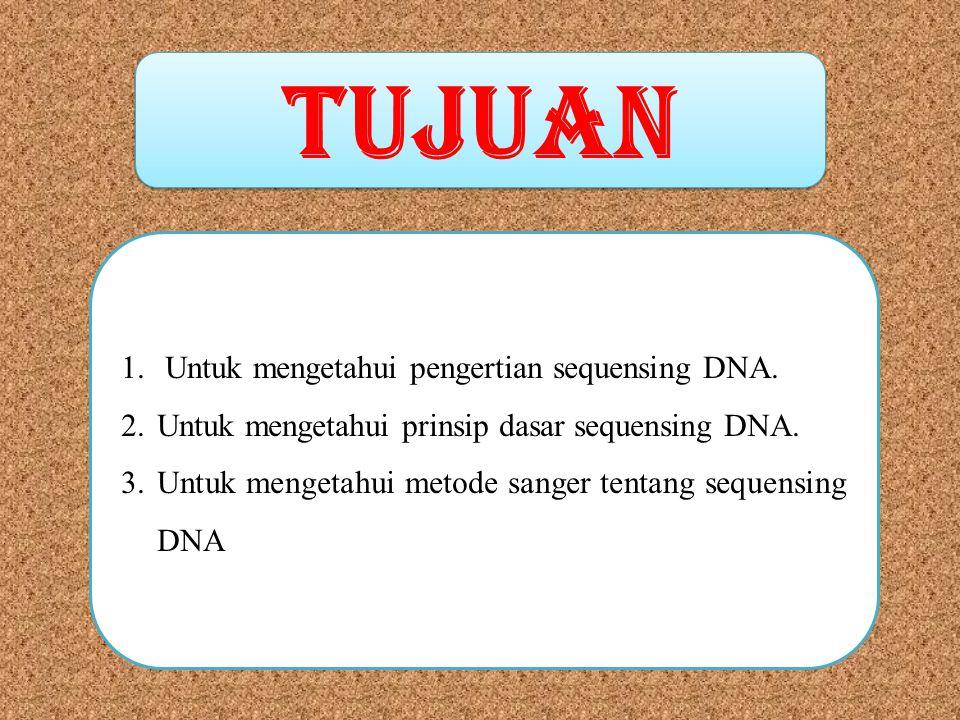 TUJUAN Untuk mengetahui pengertian sequensing DNA.